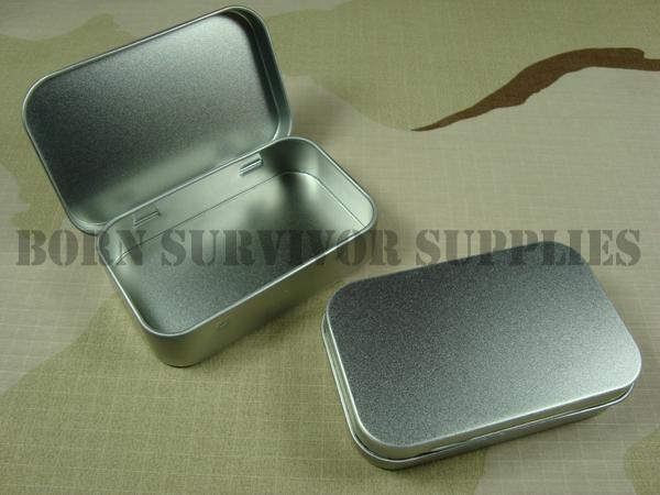 Survival Kit Tin Hinged Lid Silver Small Empty Plain Metal