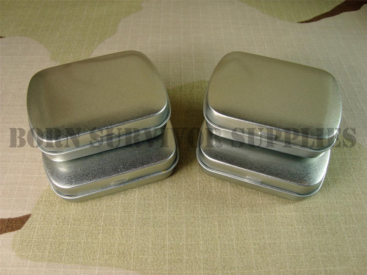 Mini Hinged Lid Tin Silver Small Empty Plain Metal Storage