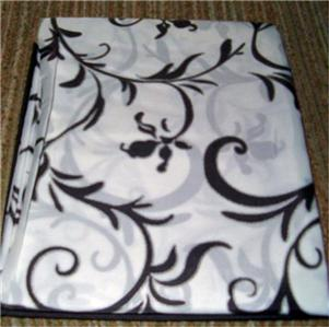 Black White Floral TOILE Fabric Shower CURTAIN NEW