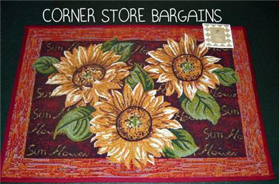 sUNFLOWER sUNFLOWERS Kitchen Throw Rug Mat Tapestry Accent