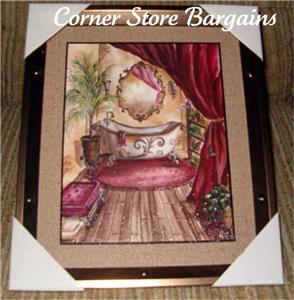 French country bathroom framed picture crawfoot tub tre sorelle wall
