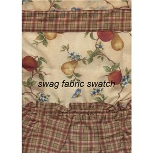 3 pc classic country fruit kitchen curtains tier swag set red green plaid ebay. Black Bedroom Furniture Sets. Home Design Ideas