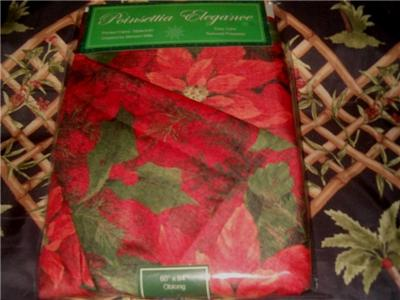 Benson Mills Poinsettia Fabric Tablecloth 60 X 84 Oblong