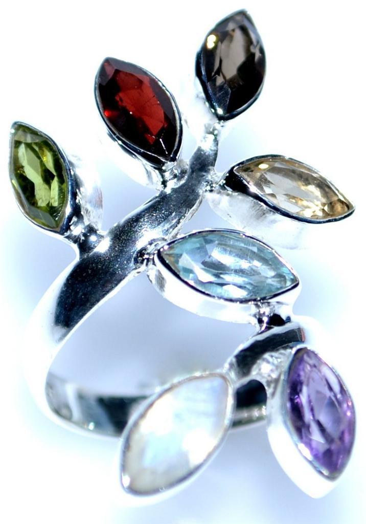 7 chakra sterling silver rings multi gemstone 925