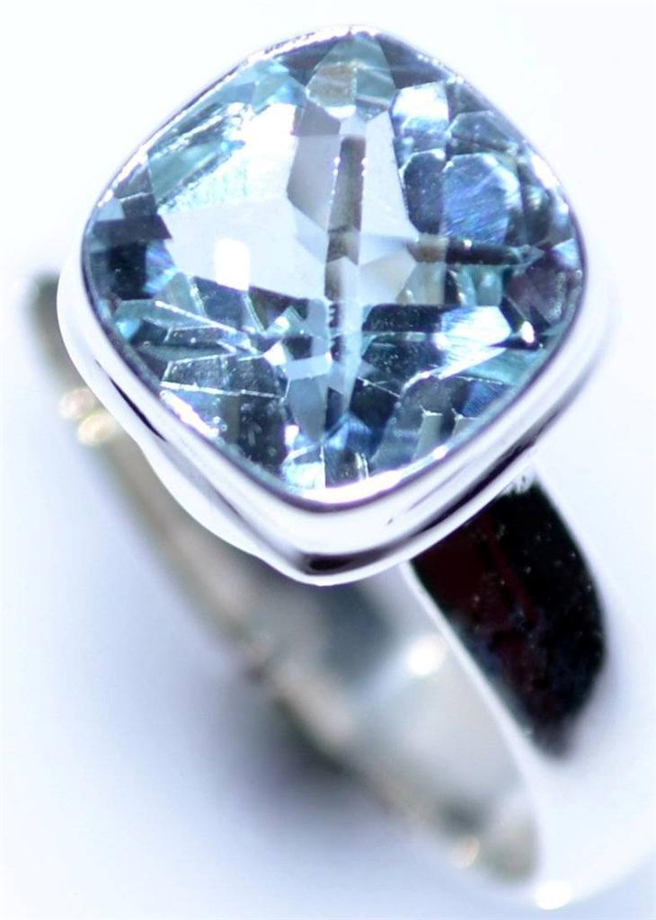 real blue topaz sterling silver rings gemstone ring 925