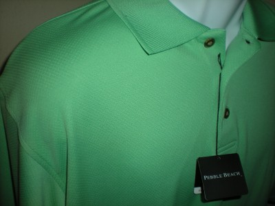 Mens pebble beach polo shirt large l green dry fit golf for Pebble beach performance golf shirt
