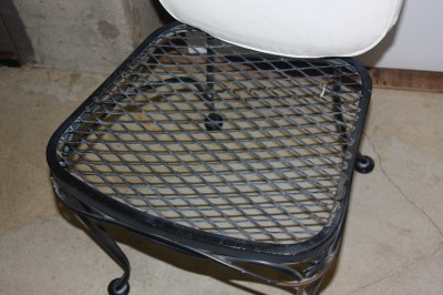 Vintage black cast iron woodard glass top patio table w 6 for Cast iron and glass dining table