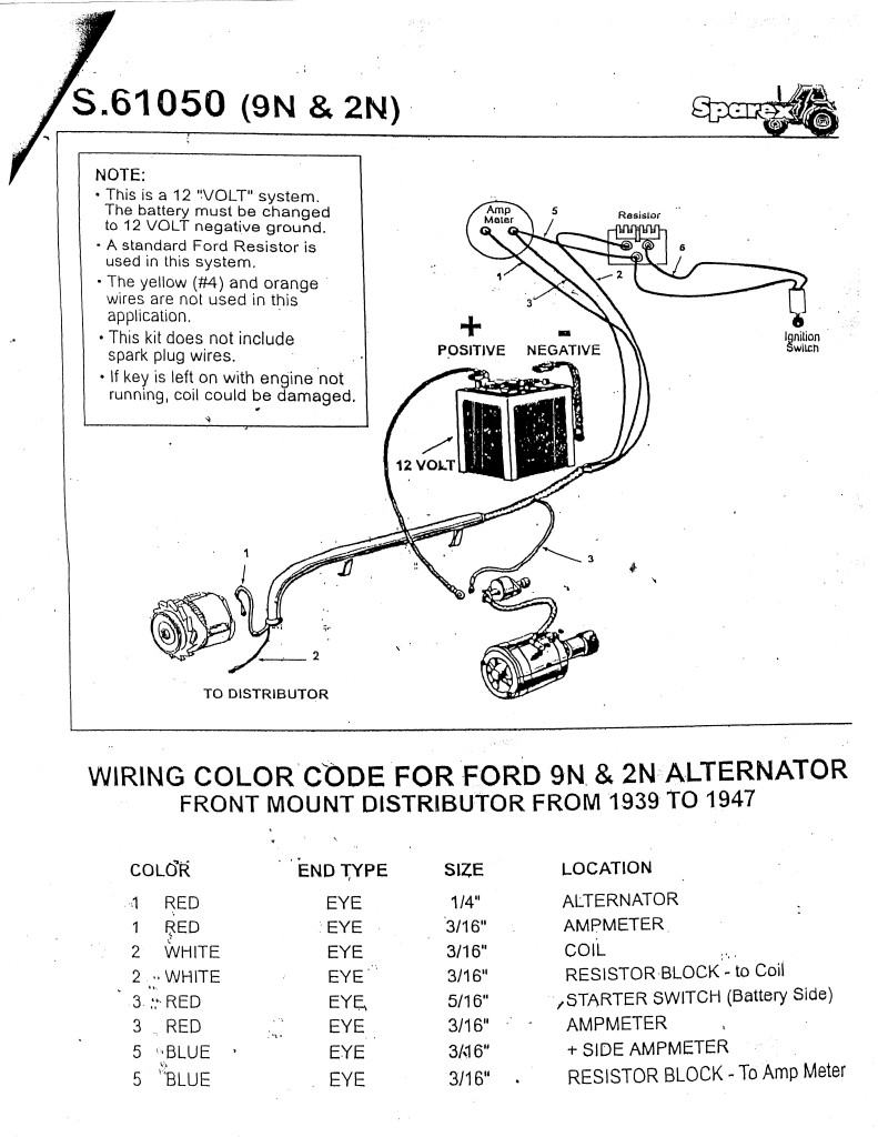 ford 8n tractor wiring diagram ford 9n 2n 8n tractor alternator conversion kit 12 volt ft dist 8ne10300alt 1949 ford 8n tractor wiring diagram to 12 volt conversion #5