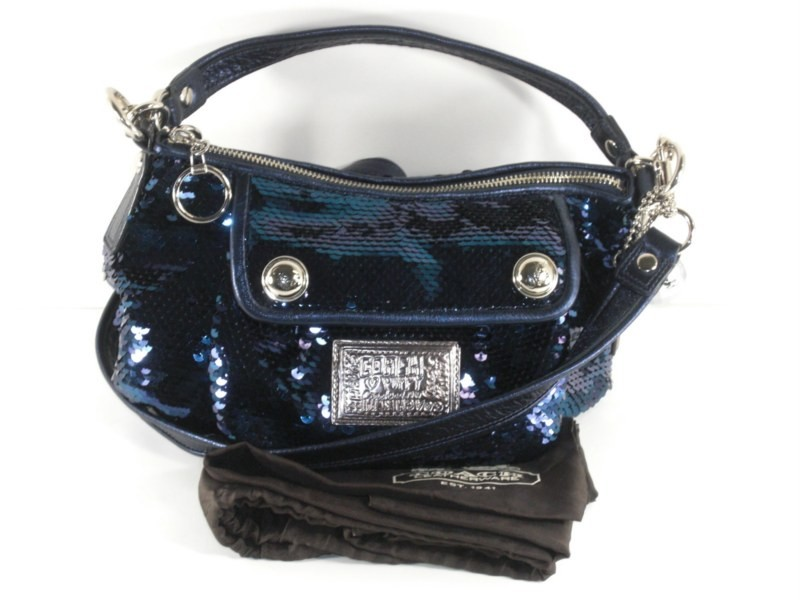 ... Coach 15381 Blue Jean Poppy Sequin Groovy Handbag Purse Authentic