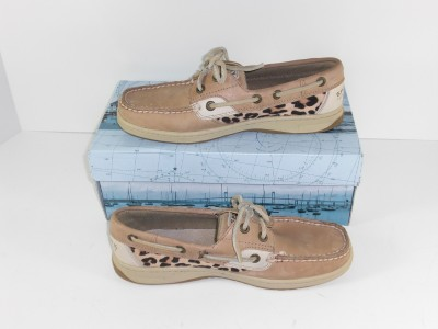 Sperry Women Boat Shoes on Sperry Top Sider Bluefish 2 Eye Linen Leopard 6 M Womens Boat Shoes