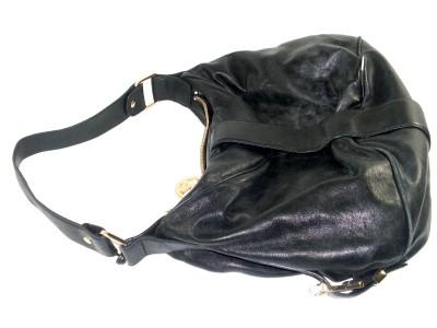 Michael Kors Black Leather Heidi Womens Large Satchel Shoulder Handbag