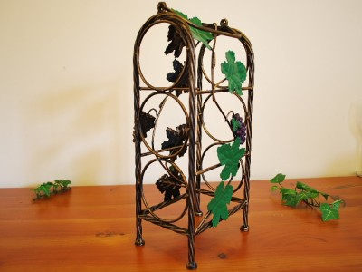 Wrought iron french vintage grapevine wine rack stand ebay - Wine racks wrought iron floor standing ...