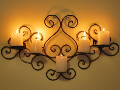 Wrought-Iron-Candle-Sconce-Holder-Wall-Decor-B