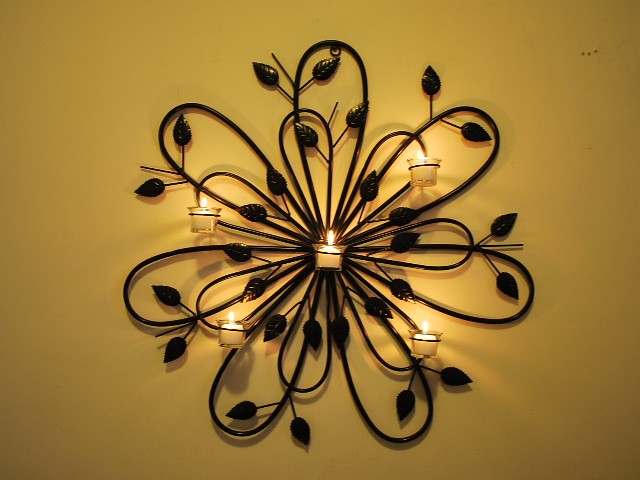 Handmade iron leaf candle sconce holder wall art 77cm for Candle wall art