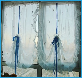 Ruffle edge embroidery sheer pull up curtain 140x190cm ebay for Pull up curtains how to make