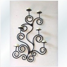 French-Iron-Scrolls-6-Candle-Sconce-Holder-Wall-Decor