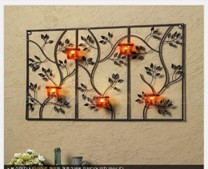 Oblong-Iron-Leaf-Candle-Sconce-Wall-Art-5-Cups-69x40cm