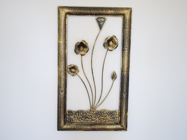 Hand crafted iron metal wall art mural framed lotus for Decor mural metal
