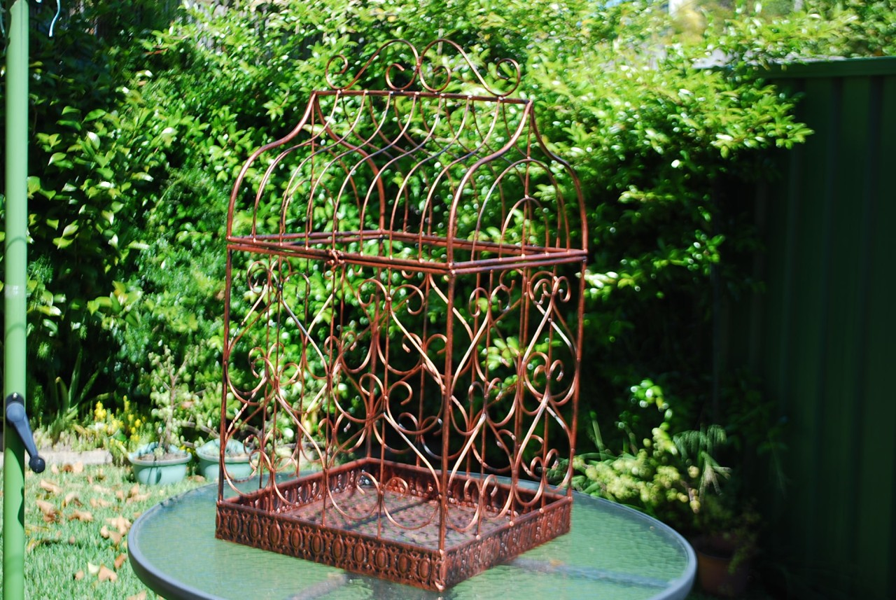 Iron-Provincial-Planter-Bird-Cage-Wedding-Wishing-Well-Copper-Red-80x42x42cm