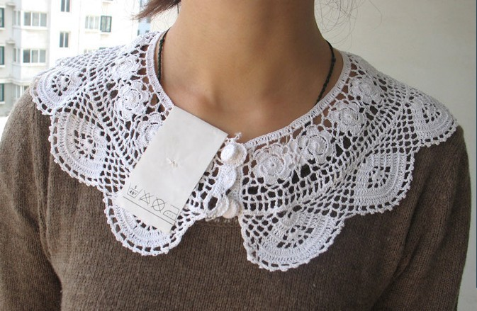 Lovely-Hand-Made-Crochet-Lace-Collar-White-Cotton