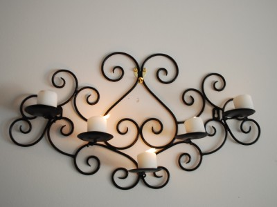 Wrought Iron Sconces Wall Decor : Wrought Iron Candle Sconce Holder Wall Decor Black Color eBay