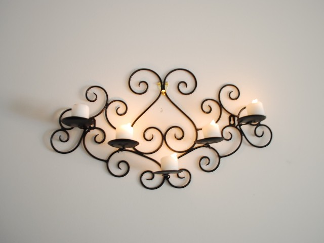Wrought Iron Wall Decor Candle Holders : Wrought iron candle sconce holder wall decor black color