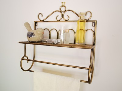 Handmade Iron French Style Kitchen Bathroom Shelf Towel