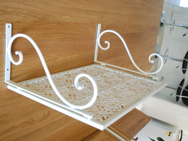 iron wall mount microwave shelf stand rack 001 ebay. Black Bedroom Furniture Sets. Home Design Ideas