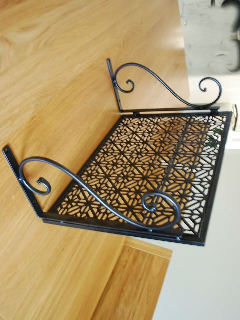 iron wall mount microwave shelf stand rack 003 ebay. Black Bedroom Furniture Sets. Home Design Ideas