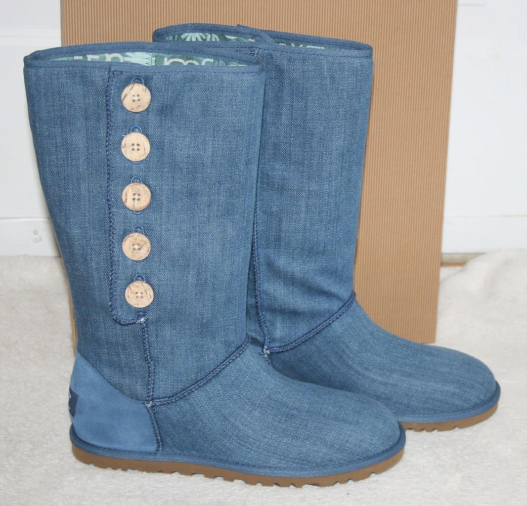 woman ugg lo pro button boot blue denim us 6 eu 37 new. Black Bedroom Furniture Sets. Home Design Ideas