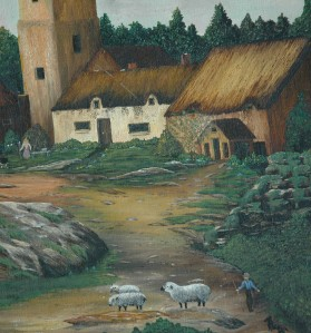 Beautiful Oil on Canvas Naive Folk Art by Florene Moses