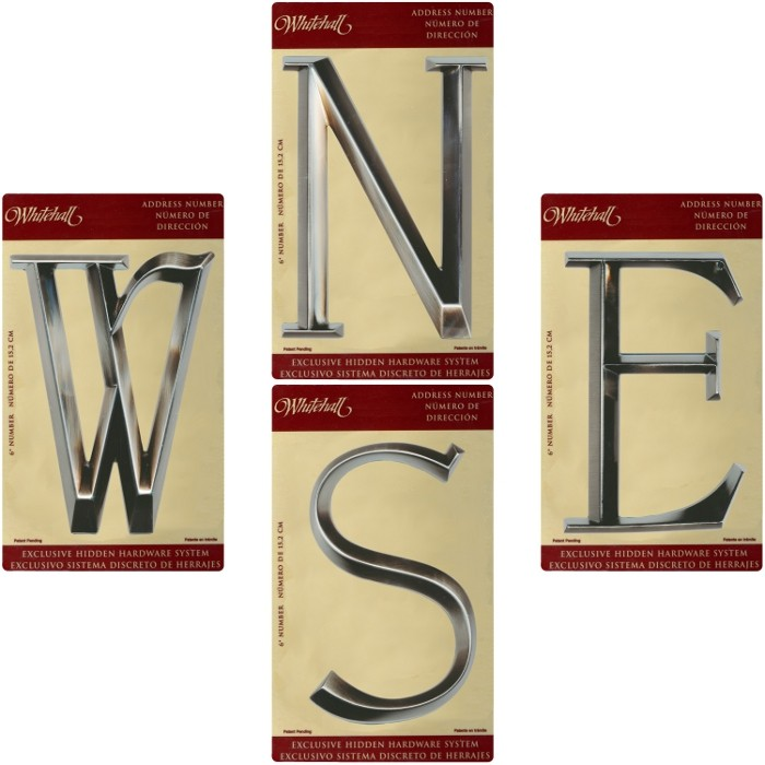 Whitehall 6 classic house numbers letters brushed for Classic house numbers