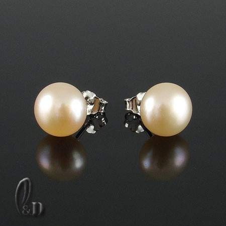 Apricot-pink-8mm-Genuine-pearls-silver-Stud-earrings