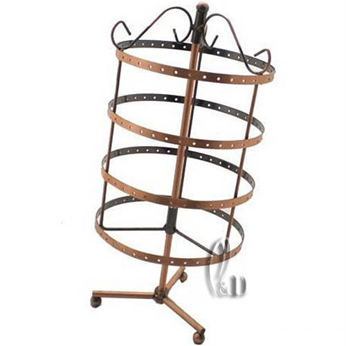 Rotatable-Bronze-design-144-Holes-28x15cms-Earring-Display-Stand-rack-d004