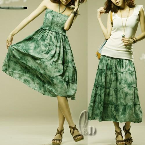BOHO-Tie-Dye-Cotton-Convertible-Tube-Top-Beach-Mini-Dress-Skirt-dr050