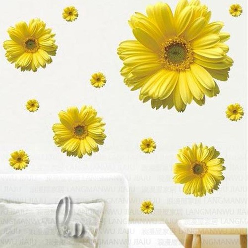 Yellow Flowers Wall Decor : Large yellow flower stickers vinyl decal diy furniture
