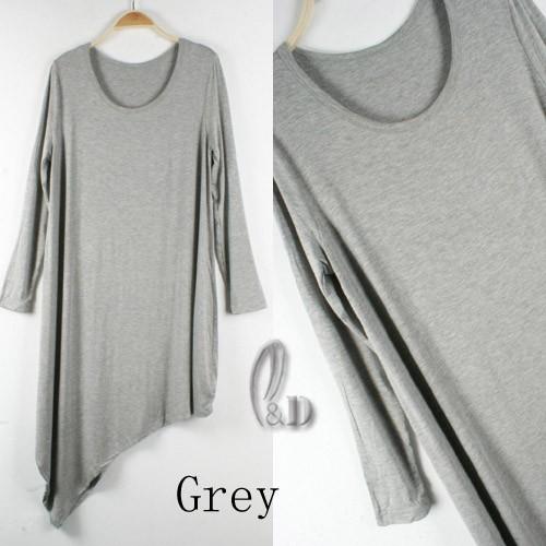 Slouchy Soft Uneven Hem Loose Dress/Long Top Shirt SZ S-XXL dr007