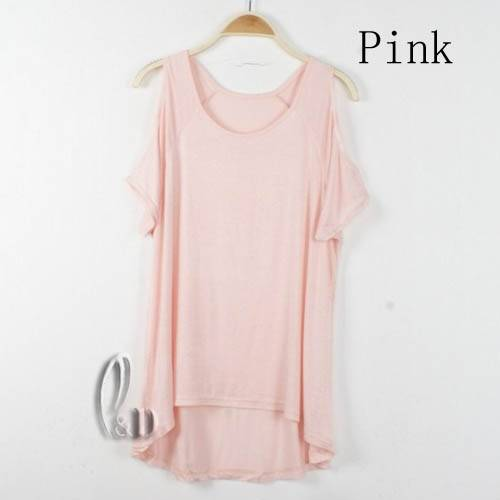 Celeb-Style-Sexy-Soft-Cut-Out-Shoulder-Uneven-Hem-Stretch-Top-T-Shirt-T084