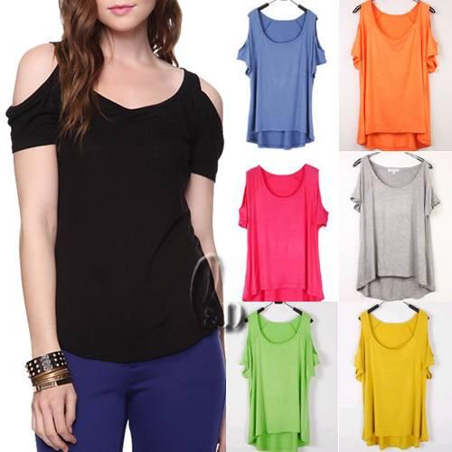 Celeb-Style-Sexy-Soft-Cut-Out-Shoulder-Uneven-Hem-Stretch-Top-T-Shirt-T084