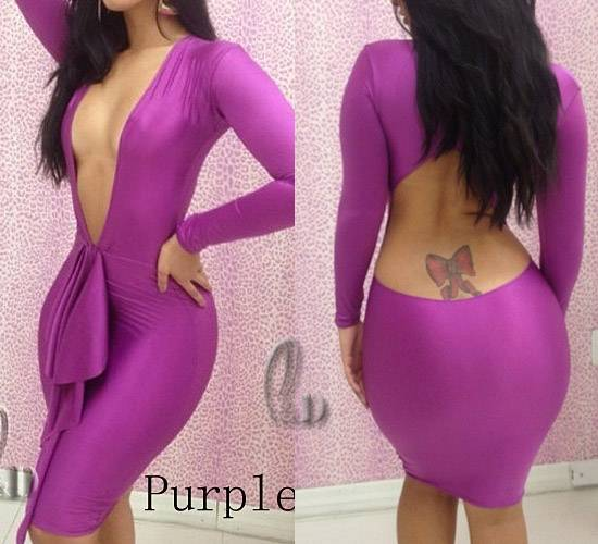 Sexy-Womens-Deep-V-Neck-Bodycon-Bandage-Cocktail-Party-Dress-AU-SELLER-dr124