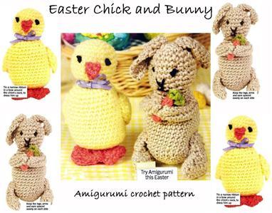 Free Crochet Pattern Amigurumi Bear : Amigurumi Toy Crochet Pattern * EASTER CHICK & BUNNY * eBay