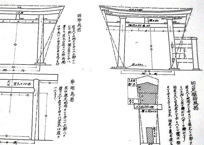 Japanese House Plan TORII Gate of Shrine Temple Detail | eBay