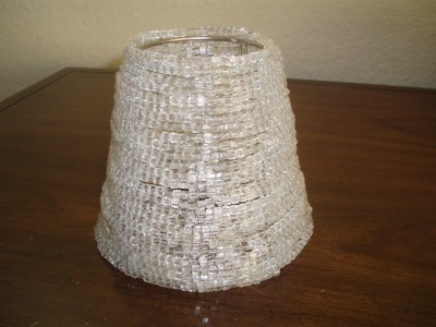 Pottery barn beaded chandelier shade clear for Beaded chandelier lamp shades