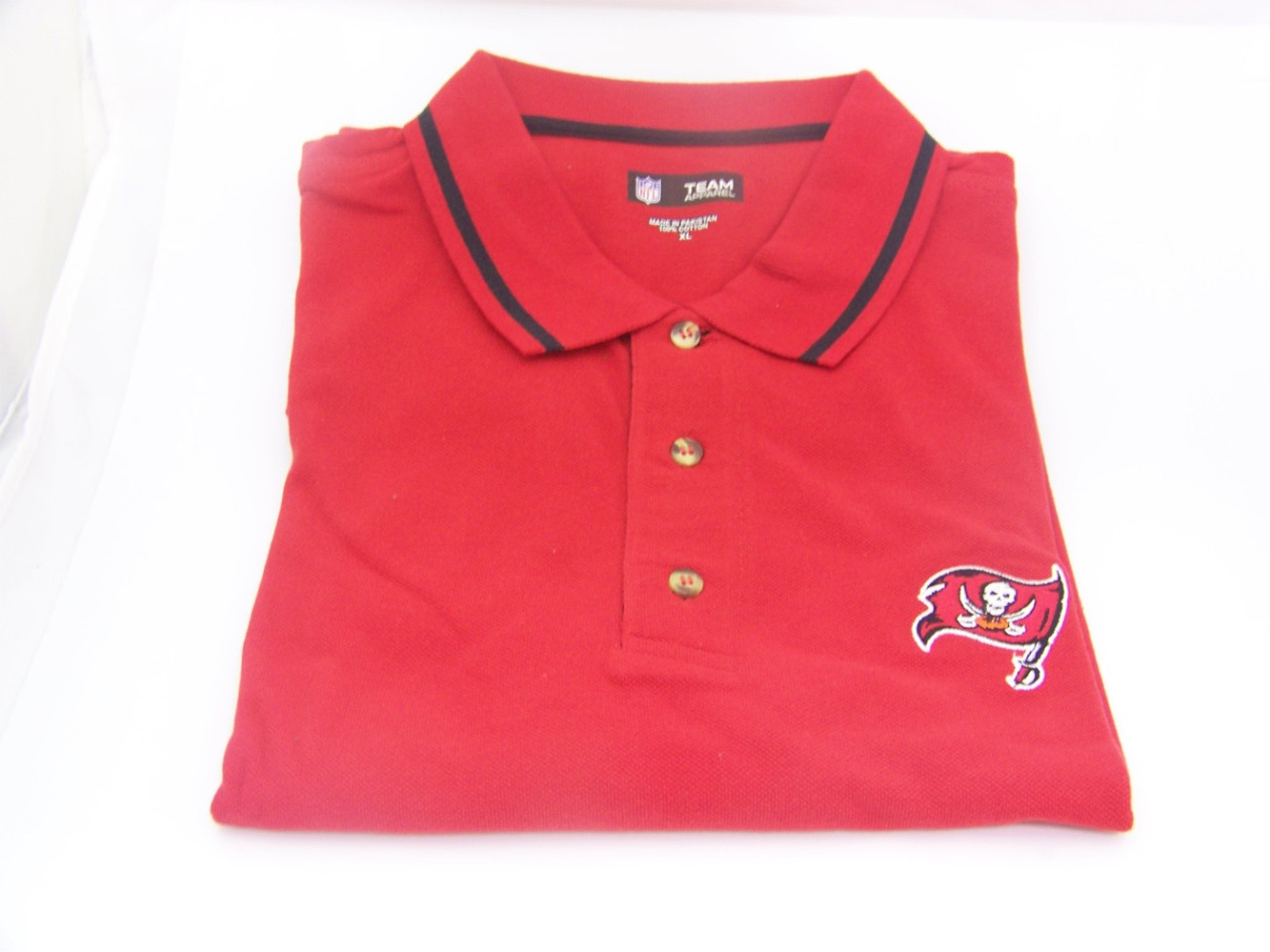 Nfl buccaneers 3 button embroidered polo shirt red b50 ebay for 3 button polo shirts