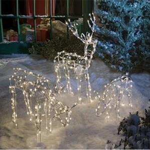 Animated lighted reindeer family set 3 christmas yard for Animated lighted reindeer christmas decoration