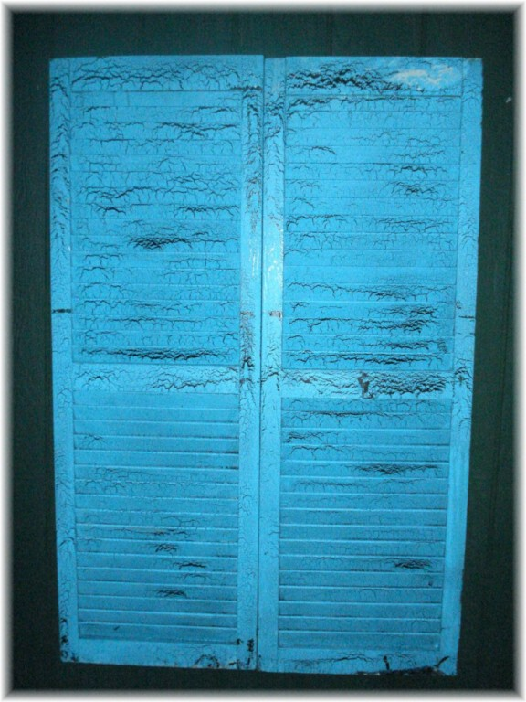 antique shutters pair turquoise crackle shabby chic ebay