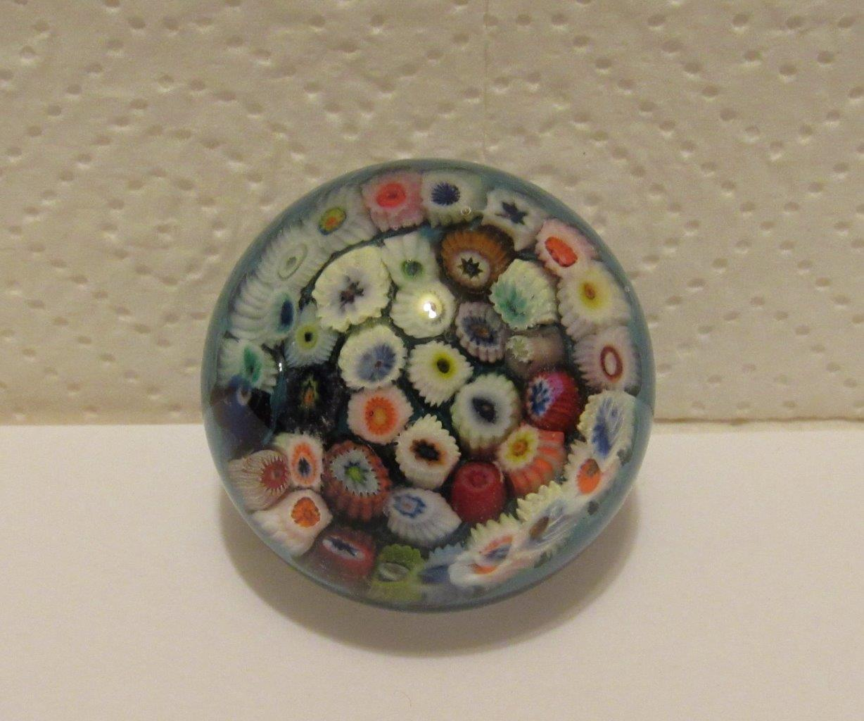 VINTAGE PERTHSHIRE GLASS PAPERWEIGHT MILLEFIORI GLASS CANES STRATHEARN SCOTLAND