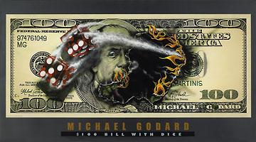 Michael-Godard-100-Bill-with-Dice-Craps-Flame-Art