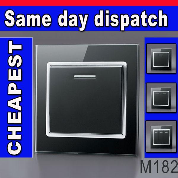 MODERN BLACK GLASS latest designer light switches 1 2 & 3