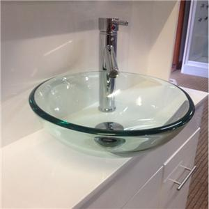 Glass Sink Unit : Combined vanity unit glass bowl sink hydra shower enclosure cubicle ...